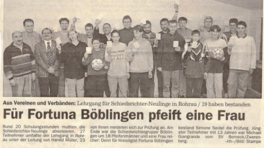 1998 - Fortuna bekommt eine weibliche Schiedsrichterin