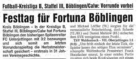 13. November 2006 - Fortuna feiert die erste Herbstmeisterschaft der Vereinsgeschichte!
