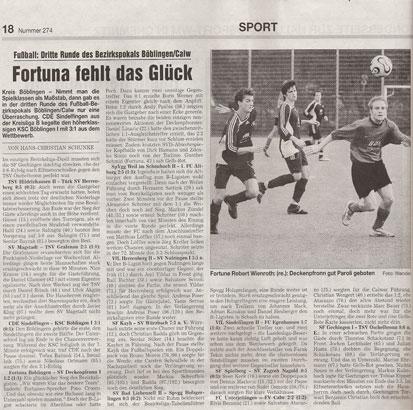 27. November 2006 - 3. Pokalrunde Fortuna - Deckenpronn (1:2)