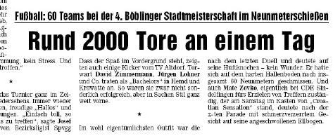 16. Januar 2007 - 4. Böblinger Stadtmeisterschaft im 9m Schießen