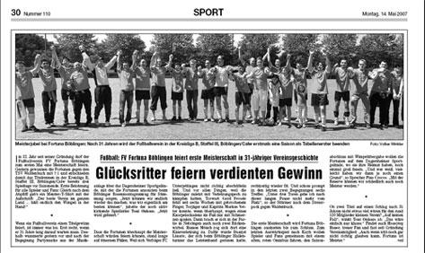 14. Mai 2007 - Fortuna feiert die Meisterschaft