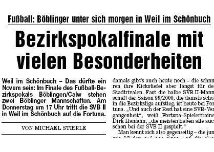 21. Mai 2008 - Fortuna steht im Finale des Fußball Bezirkspokals
