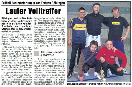 24. Januar 2009 - 6. Böblinger Stadtmeisterschaft im 9-Meter-Schießen