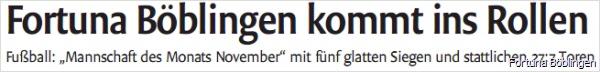 01.12.2011 - Fortuna ist Mannschaft des Monats